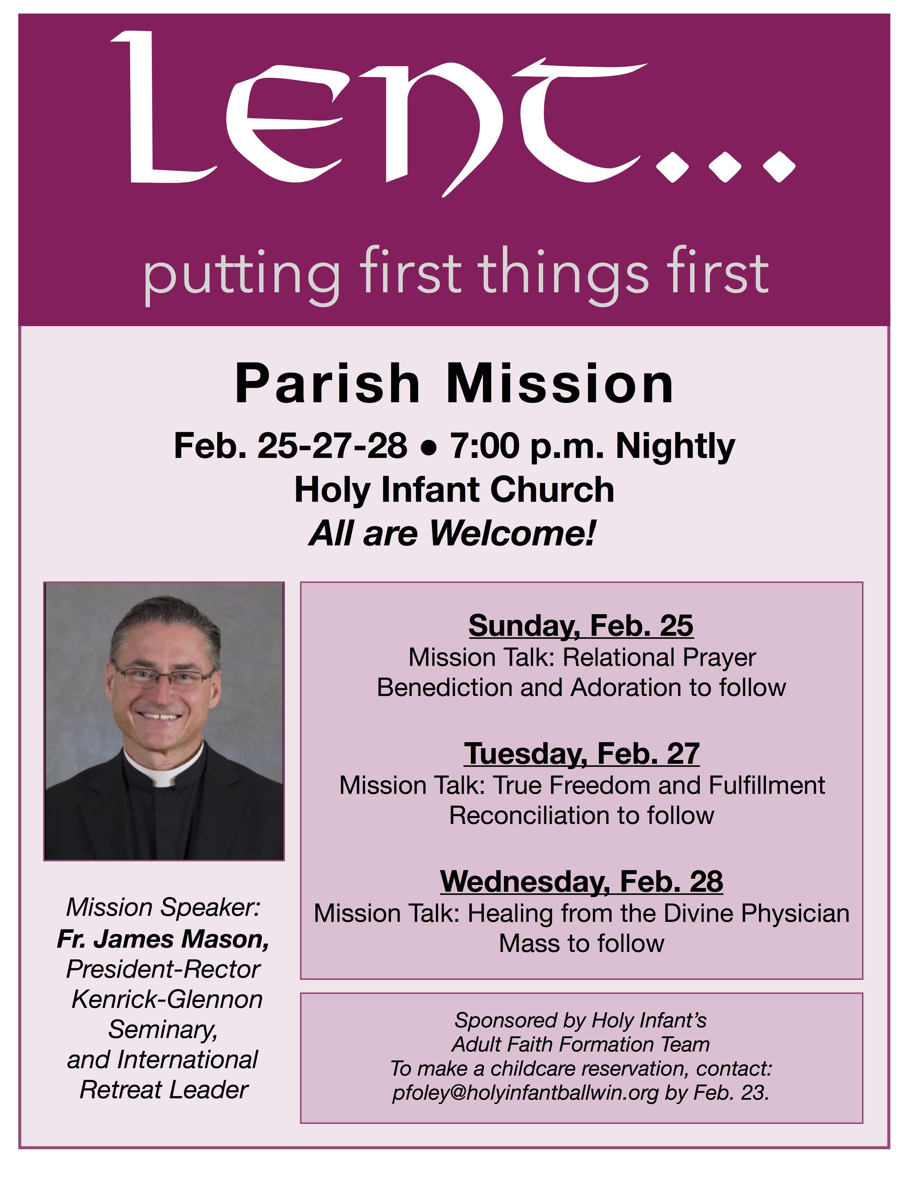 Parish Mission with Fr. James Mason @ Church